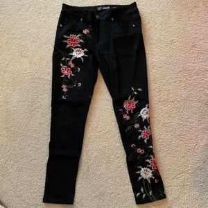 SandPiper Embroidered Black Jeans
